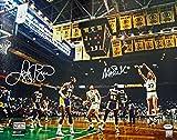 #5: Larry Bird & Magic Johnson Signed 16X20 1987 Finals Photo ITP - PSA/DNA Certified - Autographed NBA Photos
