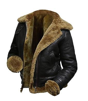 83cf91385 III-Fashions B3 Fur Womens Genuine Leather Aviator Flight Sheepskin ...