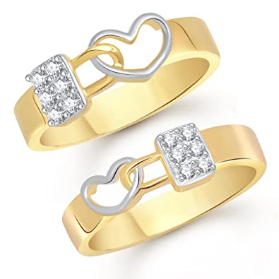 Buy V K Jewels Love Lock Gold And Rhodium Plated Couple Rings