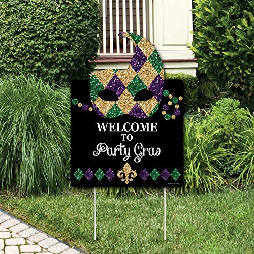 Big Dot of Happiness Mardi Gras - Party Decorations - Masquerade Party Welcome Yard Sign ()