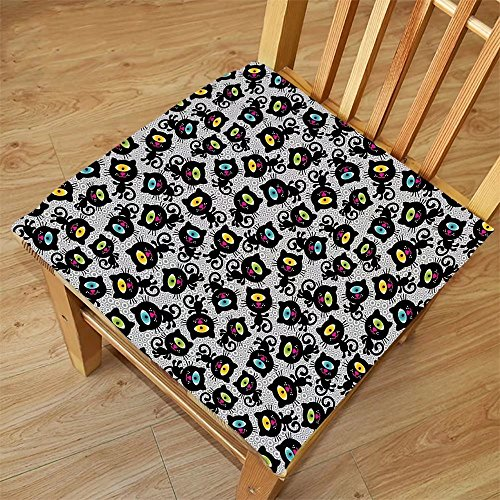 Nalahome Set of 2 Waterproof Cozy Seat Protector Cushion Cat Decor Kitty Forms with Trippy Eye on Head Freaky Spiritual Kitten Pets Animal Graphic Black Grey Printing Size - Freaky Sunglasses