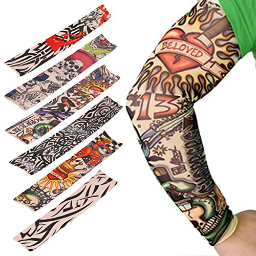 6pcs set arts fake temporary tattoo arm sunscreen sleeves for Fake tattoos amazon