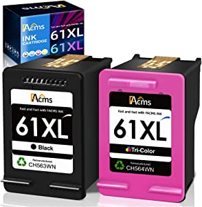 FAcms Remanufactured 61 XL Ink Cartridges Replacement for HP 61XL 61 XL Ink Cartridges Combo to use with Envy 4500 5530 5535 Deskjet 2540 1010 Officejet 4632 4634,(1 Black,1 Tri-Color, 2 Pack)