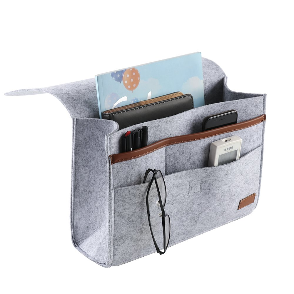 9x12 Bedside Caddy,Felt Bedside Caddy Bedside Storage Organizer Bed Caddy Under Mattress Holder Bag for Phone, Remote, Magzine, Glass, Pen Alapaste