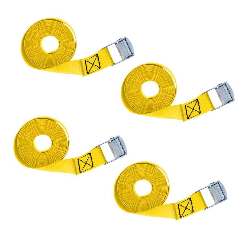 Sharplace 4 Pack 8-foot-by-1-inch Tie Down Strap Lashing Strap Cargo Tie-down Strap Padded with Metal Cam Lock Buckle