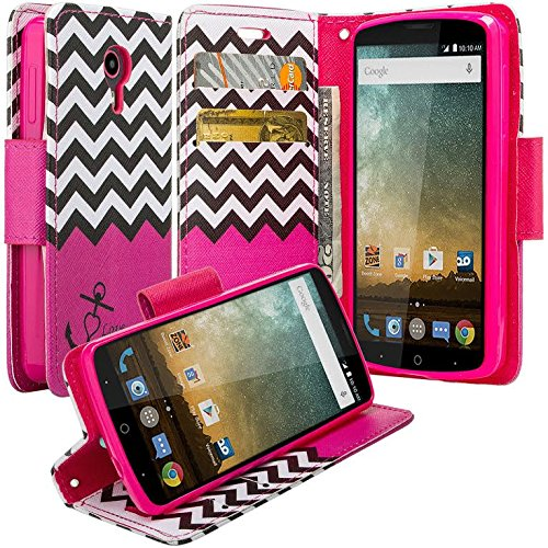 ZTE Sonata 3 Case, ZTE Avid Trio Case, ZTE Chapel, ZTE Prestige, Flip Folio [Kickstand] Pu Leather Wallet Case with ID&Credit Card Slot for ZTE Sonata 3/ ZTE Prestige/ZTE Avid Plus - Hot Pink Anchor