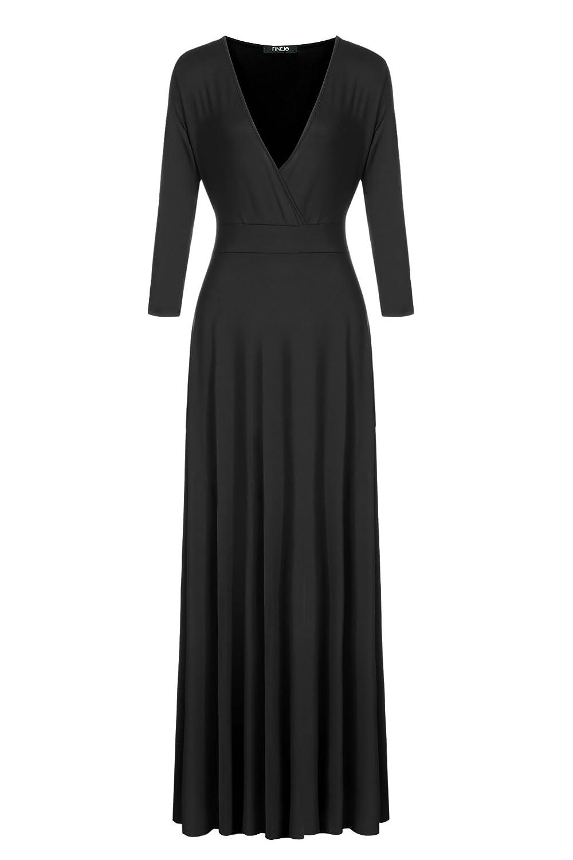 CRAVOG Damen Elegante V-Ausschnitt Abendkleider Lange Ärmel feierliche Kleider