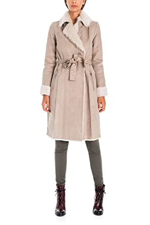 Manteau peau beige