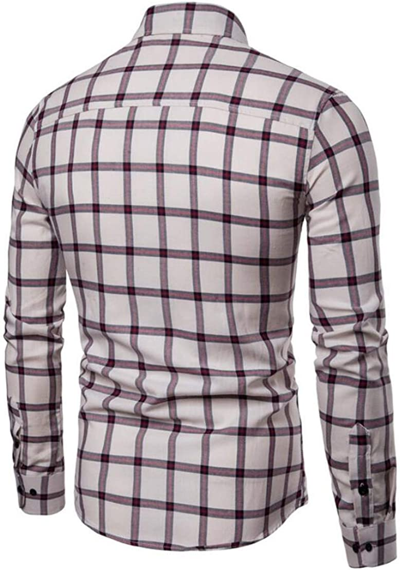 S-Fly Men Cotton Button Down Plaid Casual Long Sleeve Dress Shirts