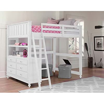 NE Kids Lake House Full Loft Bed in White: Kitchen & Dining