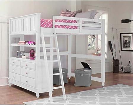 Amazon Com Ne Kids Lake House Full Loft Bed With Desk In White