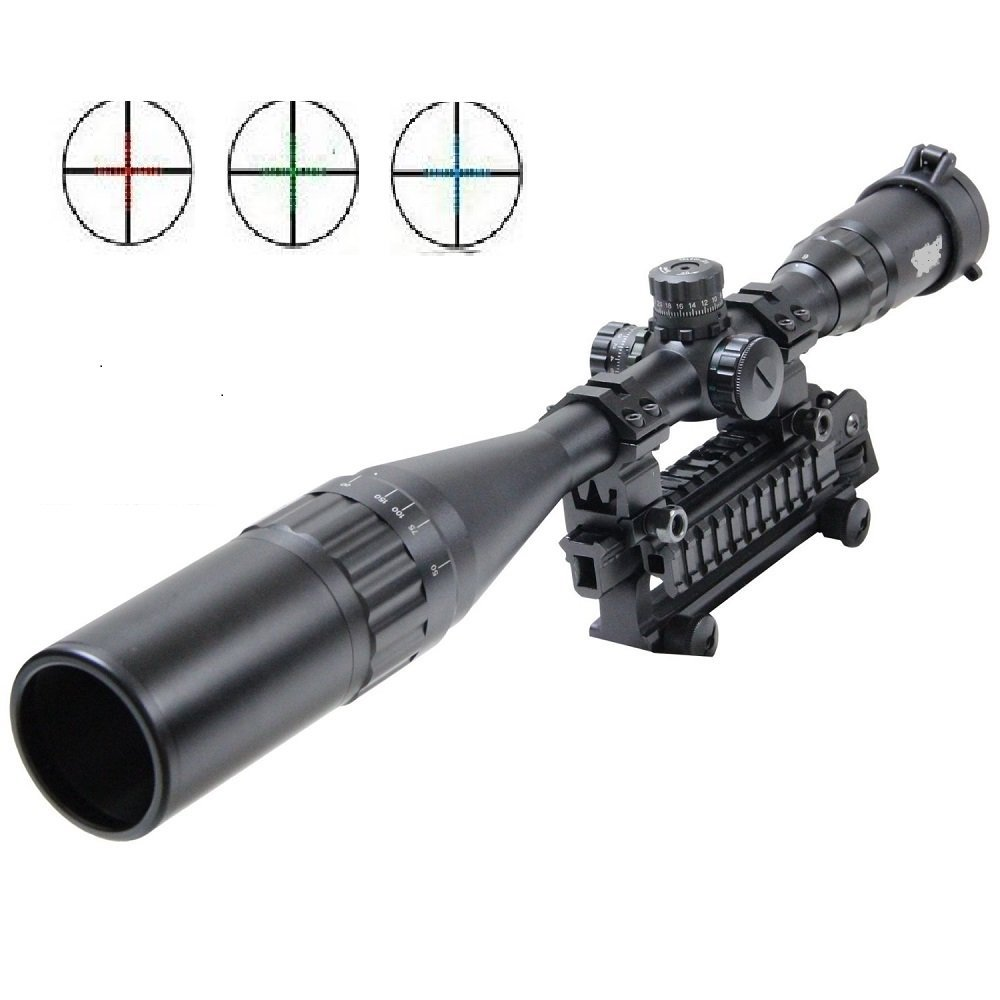 UUQ 4-16X50mm AOL Clarity+ Hunting Rifle Scope W Front AO Adjustment, Red/Blue/Green Mil-dot Reticle, Heavy Duty Ring Mounts, Flip Up Lens Covers and Extended Sunshade by UUQ