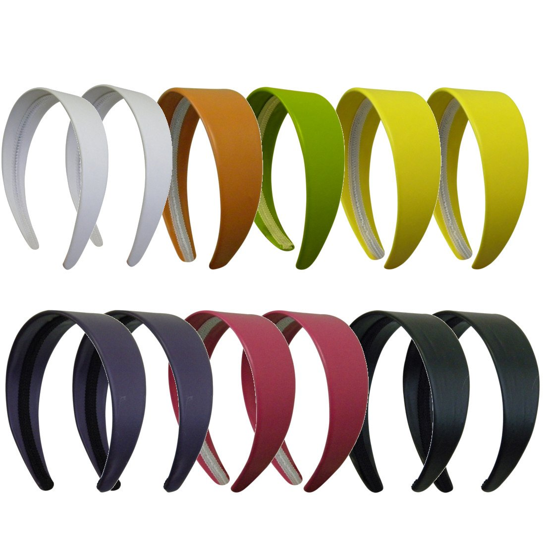 Multi set 2 Inch Wide Leather Like Headband Solid Hair band for Women and Girls - Set of 12