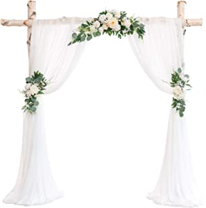 Ling's moment Artificial Wedding Arch Flowers Kit(Pack of 5) - 3pcs Ivory Greenery Aobor Floral Arrangement with 2pc Semi-Sheer Swag for Ceremony and Reception Backdrop Decoration