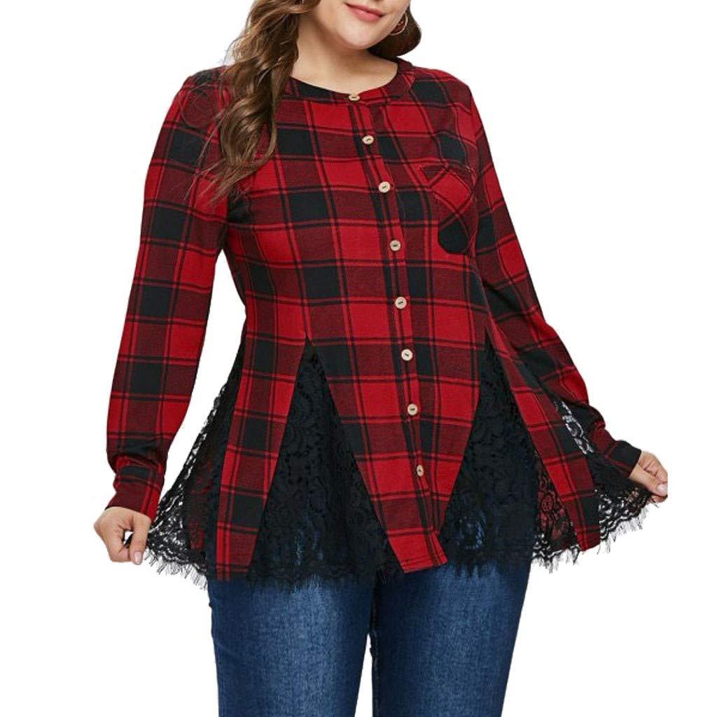 Luckycat Blusas Larga Estampada A Cuadros Rojos Encaje botó n Camisa Femenina Casual Popular Blusa De Otoñ O Tops De Las Mujeres Camisas