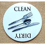 """Big Magnet: 3.5"""", Dishwasher, Clean or Dirty Dishes, Drawing of Cutlery,"""
