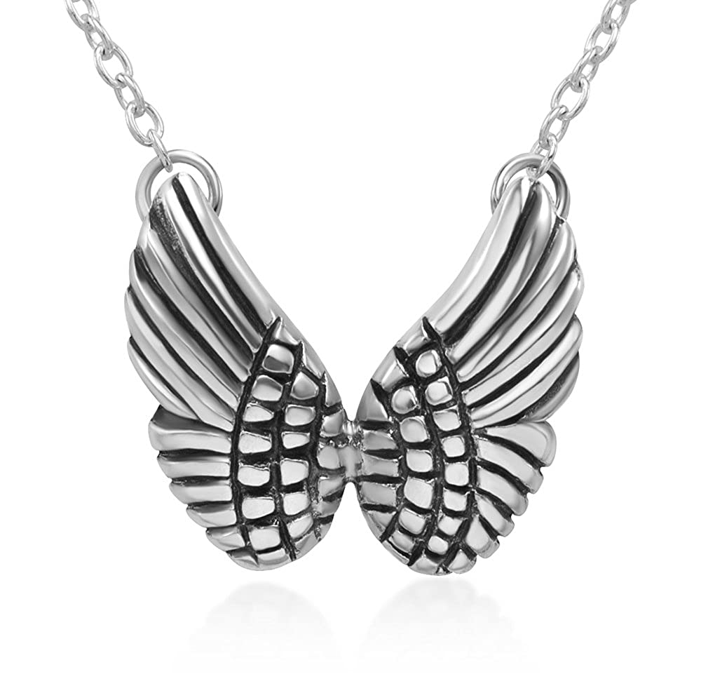 Chuvora 925 Oxidized Sterling Silver Double Angel Wings Pendant Necklace 17.5 inches Women Jewelry
