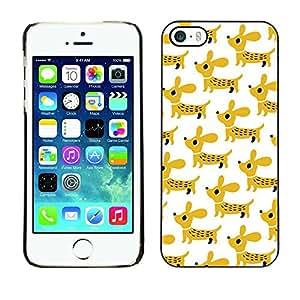 PC/Aluminum Funda Carcasa protectora para Apple Iphone 5 / 5S puppy dachshund dog pet mustard white / JUSTGO PHONE PROTECTOR