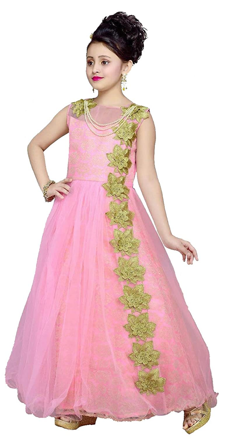 New Arrival Designer Cute Light Pink Gown for Girls: Amazon.in ...