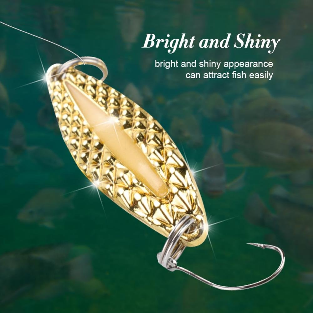 Walleye Bass Alomejor Fishing Lure Baits Fishing Lure Metal Spoon Jig Lure with Fishing Tackle Box for Pikes Redfish Trout