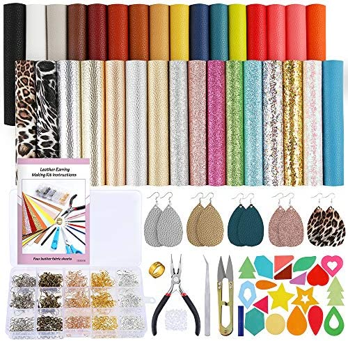 Caydo 32pcs Leather Earring Making Kits Include Instructions 5 Styles Faux Leather Sheets Earring Cut Template Stickers and Tools for Starter Leather Earring Making (6.3 inch x 8.3 inch)