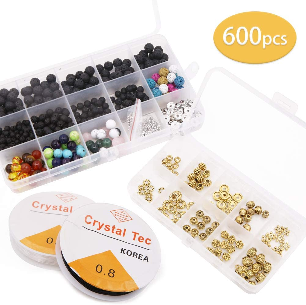 Juego de 600 cuentas de piedra de lava para chakras, cuentas separadoras de oro y plata, cuentas de lava negras, para hacer pulseras de aceites esenciales