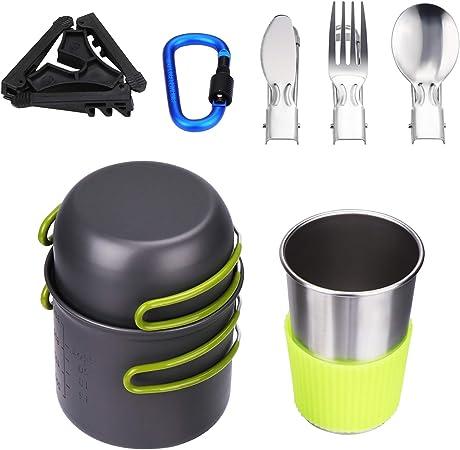Coolty Kit de Utensilios de Cocina para Camping Senderismo Excursión al Aire Libre de Aluminio(1 à 2 Personnes)