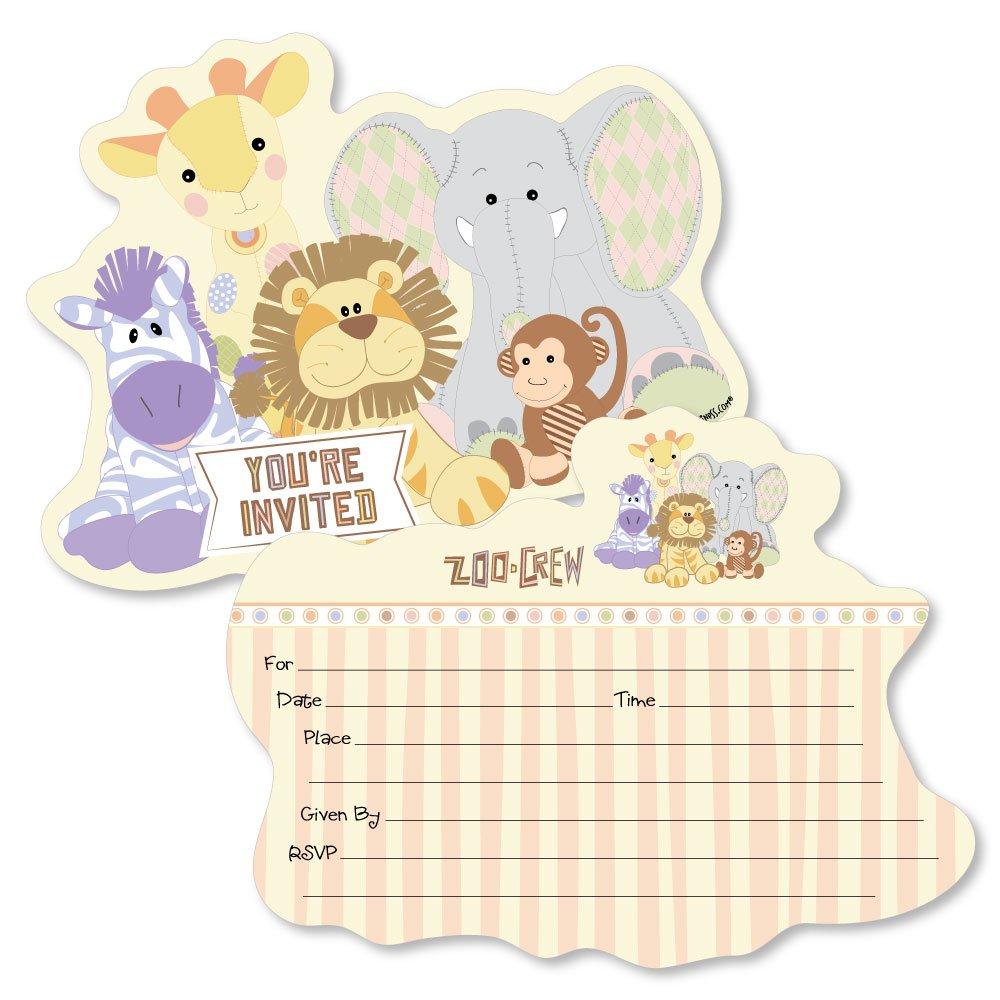 Baby Shower or Birthday Party Invitation Cards with Envelopes Set of 12 Shaped Fill-in Invitations Zoo Crew