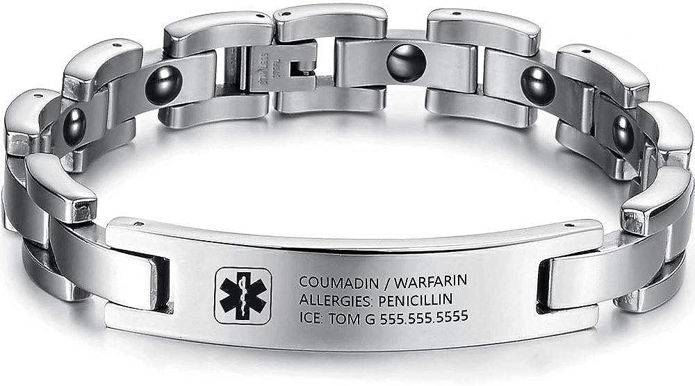Gaosh Pulsera de identificación grabada personalizada unisex Pulsera elástica Brazalete de acero inoxidable con emblema médico grabado de 12 mm de plata para hombres y mujeres