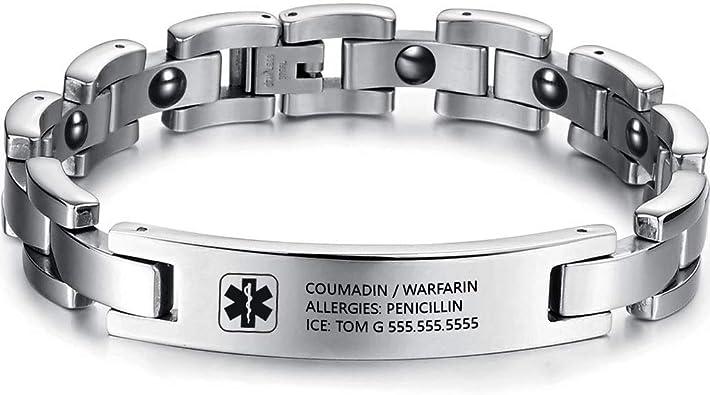 Gaosh Pulsera de identificación grabada personalizada unisex Pulsera elástica Brazalete de acero inoxidable con emblema médico grabado de 12 mm de plata para hombres y mujeres: Amazon.es: Joyería