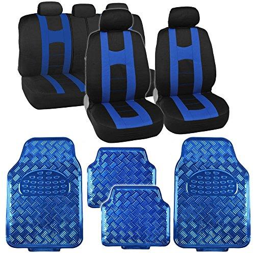 Black & Blue Rome Sport Stripe Seat Covers w/ Shiny Metallic Floor Mats for Car Truck SUV ()
