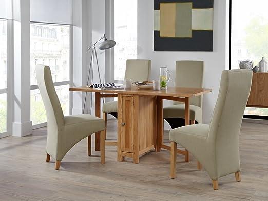 Mesa extensible de madera de roble con hojas de mariposa y 4 ...