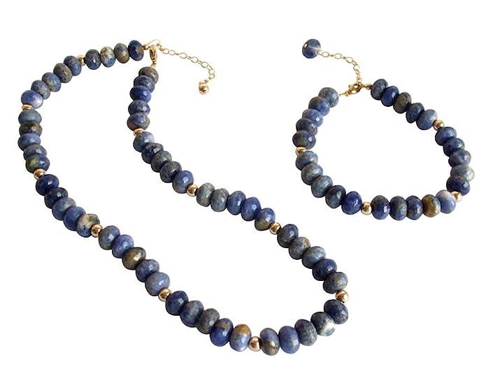 Gemshine - Bracelet - 14k Gold plated - Blue Lapis Lazuli - Faceted Gemstones yXpMPkxHx