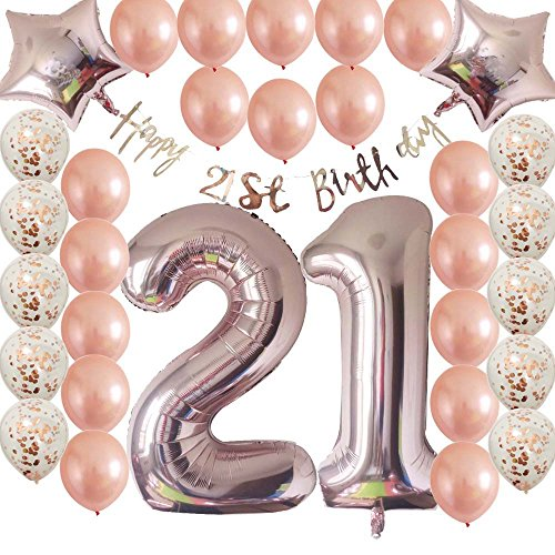 21st Birthday (40inc 21st Birthday Decorations Party Supplies Set-Rose Gold Confetti Latex Number Balloons-Happy 21st Birthday Banner as Gift for Her Girls,Women,Men Table Decorations Favors,Photo Props)