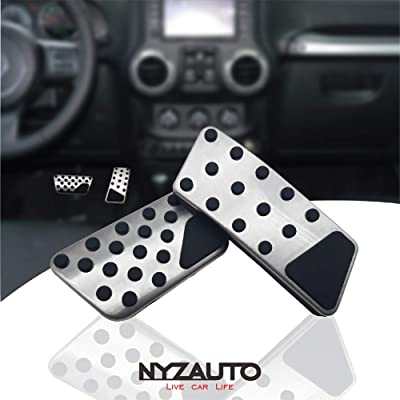 NYZAUTO Non-Slip Foot Pedal Pads for 2008-2020 Jeep Wrangler JK JKU,Auto No Drilling Aluminum Brake and Accelerator Pedal Covers: Automotive