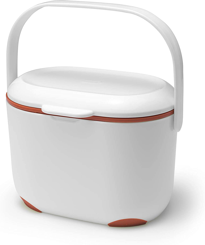 Addis 2.5 Litre Kitchen Indoor Compost Food Waste Caddy Bin, White/Flame Orange, 2.5L