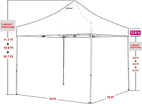 Green Garden 10 x10 Commercial Pop Up Outdoor Gazebo Canopy Tent 3 Adjustable Heights with Sidewalls Patio Heavy Duty Steel Frame Backyard Instant Shelter with Wheeled Carry Bag Pink