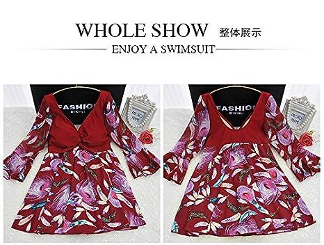 bb64f884ff059 U.R.dream Women s Plus Size Swimwear Elegant One Piece Swimdress Half  Sleeve Long Torso Swimsuits at Amazon Women s Clothing store