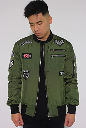 Veste Bomber Patches John H P7617 Kaki Homme Streetwear