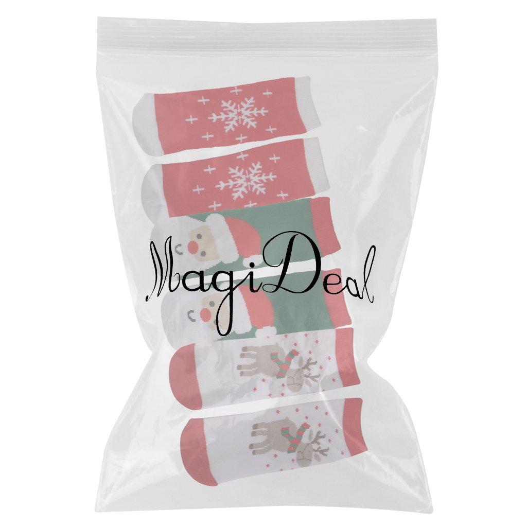 MagiDeal 3 Pairs Kids Toddler Christmas Slipper Socks Xmas Stocking Cotton Hosiery