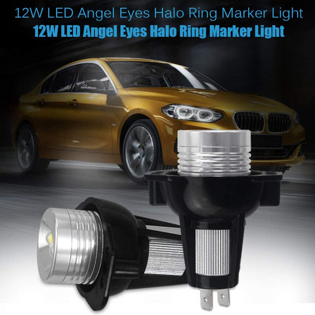 EBTOOLS 2PCS 12W 6000K LED Angel Eyes Halo Ring Marker Light para E90 E91 05-08 Auto Lamps White Color Angle Eyes LED Light