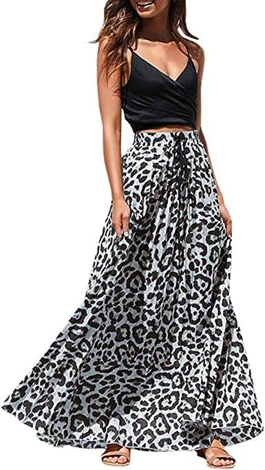 Feitengtd Maxi Falda para Mujer, con Estampado de Leopardo ...