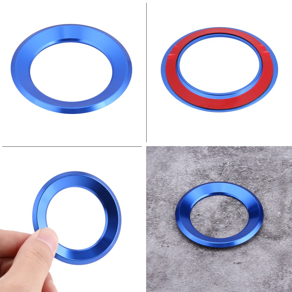 Car Steering Wheel Centre Ring Steering Wheel Cover Trim Aluminium Chromium alloy Decoration Frame Trim Insert Sticker Blue