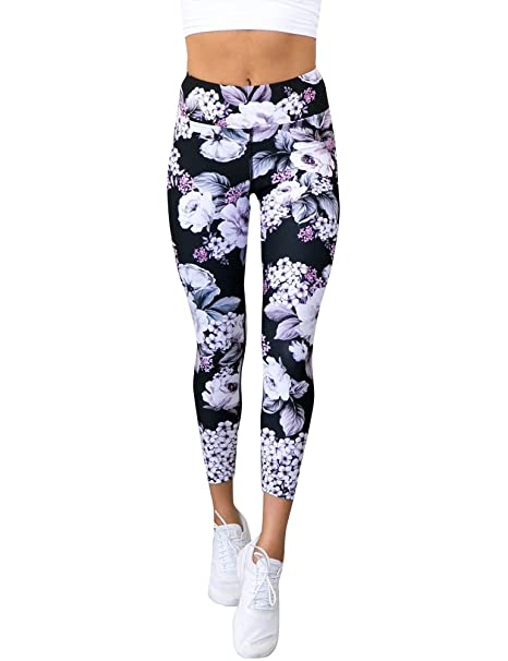 c9995b4ffc011 Amazon.com: ZJP Women High Waist Floral Print Yoga Pants Leggings Sport  Pants Workout Capris: Clothing