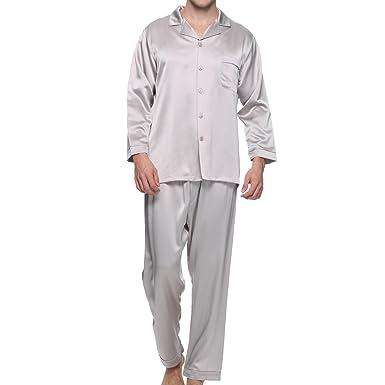 46cec47778 Chesslyre 100 Mulberry Silk Pajamas Men Night Wear Pajamas Set 2 Piece-Tops  & Pants