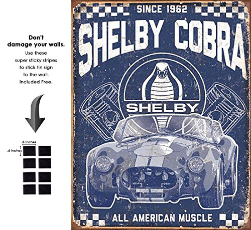 Shop72 - Distrssed Tin Sign Shelby - American Muscle Metal Sign Poster Garage Sign - with Sticky Stripes No Damage to Walls