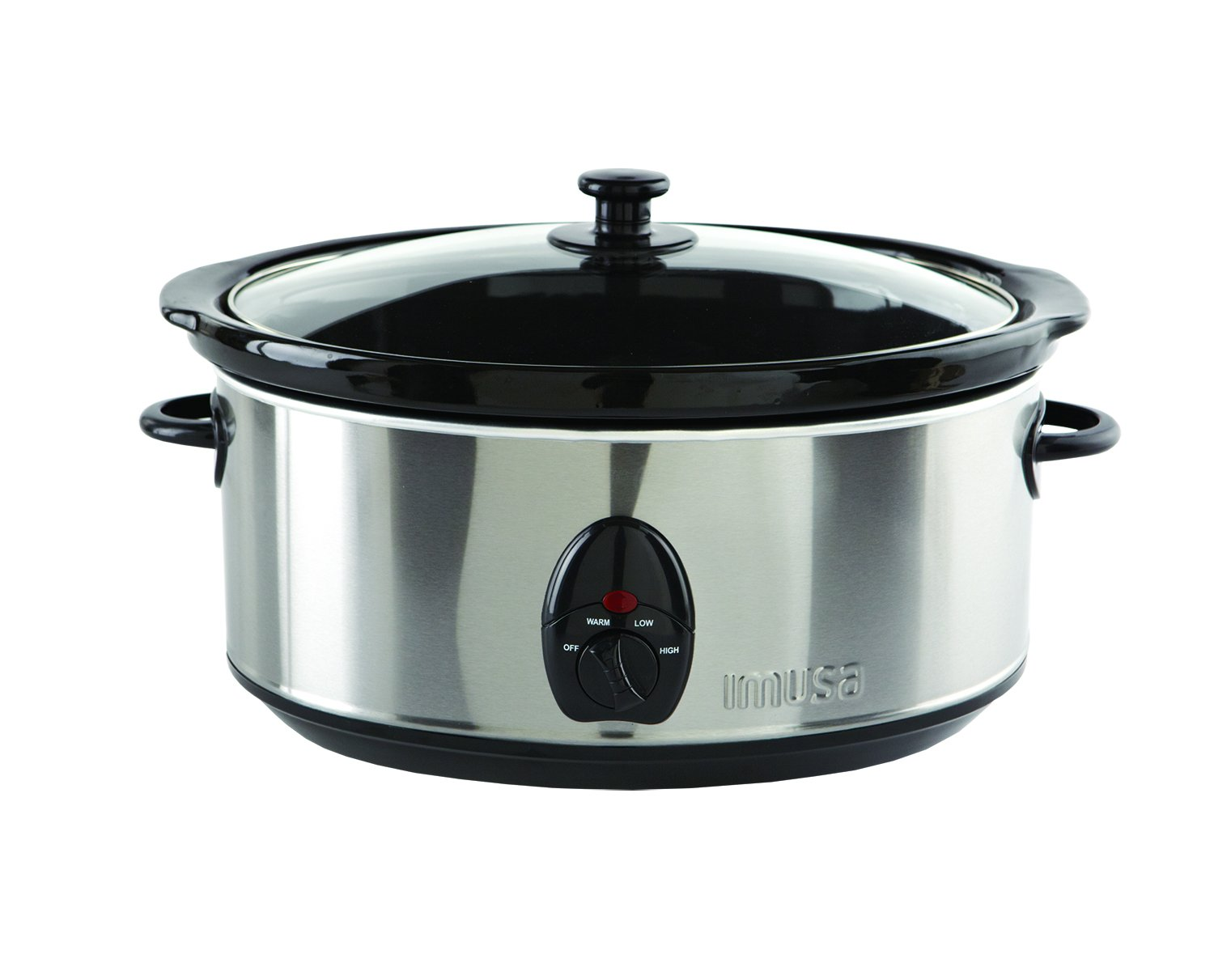 IMUSA USA IMU-01975 Stainless Steel Slow Cooker with Glass Lid, Stainless Steel