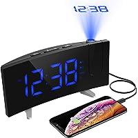 Projektionswecker(Neuste Version 2019) ,PICTEK Radiowecker/Wecker mit Projektion/Wecker/Großes Display/Dimmer/Dual-Alarm/4 Alarmtöne/Snooze/Timer, 12/24, USB-Anschluss, 120° Projektor,180°Flip-Anzeige