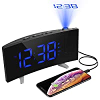 "PICTEK Projection Clock, FM Radio Digital Alarm Projection Clock with Dual Alarms, Snooze Function, 5"" LED Display with Dimmer, 12/24 Hours, USB Charging, Battery Backup, [Curved-Screen]"