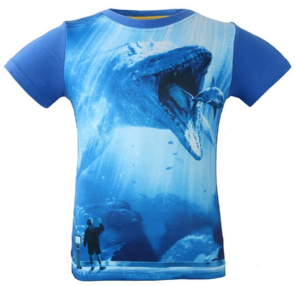 CHANI Boys Jurassic World Dinosaurs 3D Print Short Sleeve T-Shirt Boys Cartoon Movie Tee Size 3-8T